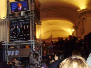 an overflow crowd in the lobby of BAM
