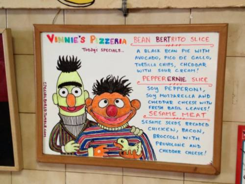 A recent Vinnie's pizza vegan special. Photo by me (hungry me)